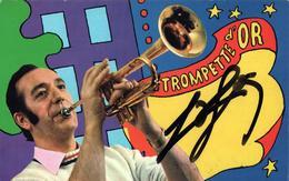 """Carte Photo Originale Dédicacée Georges Jouvin """" Trompette D'Or """" Noël PEC Le 03.01.1968 Rouen - Chanteurs & Musiciens"""