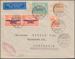 Flugpost NL-Indien MiF 188 Aufdruckmarke Paar SEMARANG 5.4.33 Nach Amsterdam - Niederländisch-Indien