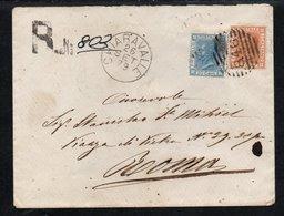 Due Bigola Su Lettera Racc. Del 26/9/1879 Ann.Nrle 846 Da Chiaravalle Per Roma - 1861-78 Vittorio Emanuele II