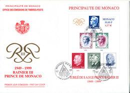 Monaco FDC 9-5-1999 Souvenir Sheet Golden Jubilee Rainier III Prince De Monaco With Cachet - FDC