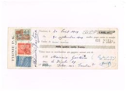 Timbre Fiscal à 1 Franc Et Timbres-poste Sur Mandat.adressé à Solre-sur-Sambre. - Fiscaux