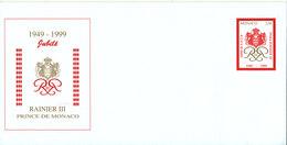 Monaco In Mint Condition Postal Stationery Cover Golden Jubilee Rainier III Prince De Monaco With Cachet - FDC