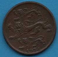 EESTI VABARIIK 2 SENTI 1934  KM# 15 3 Lions - Estland