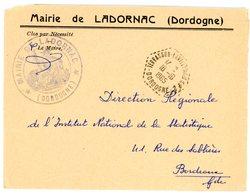 DORDOGNE ENV 1965 TERRASSON LAVILLEDIEU C.P. 2. SUR ENV FRANCHISE MAIRIE DE LADORNAC - Poststempel (Briefe)