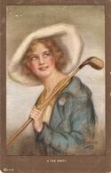"""Pretty Lady. A Tee Psrty"" Nice Vintage Emerican Postcard. Artist Signed - Frauen"