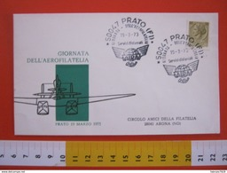 A.09 ITALIA ANNULLO - 1973 PRATO FIRENZE GIORNATA AEROFILATELIA AIDA AIR AEREO VIAGGIATA X ARONA NOVARA - Giornata Del Francobollo