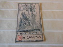 Ticket D Entree 1 Franc Exposition Universelle De 1889 - Tickets D'entrée