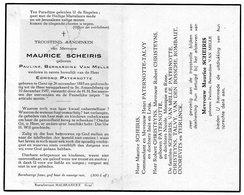 Maurice Scheiris (geboren Pauline, Bernardine Van Melle - Weduwe Van Edmond Paternotte) Geboren Te Gent 1885 / 1957 - Devotion Images