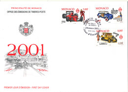Monaco FDC 1-12-2000 Cars Set Of 3 With Cachet - FDC