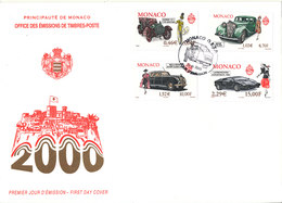 Monaco FDC 23-6-2000 Cars Set Of 4 With Cachet - FDC