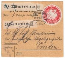 Deutsches Reich 1915 , Paketkarte Vom Reichsschatzamt Mit Verschlusssiegel - Germany