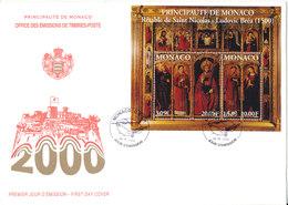 Monaco FDC 4-9-2000 Saint Nicolas Souvenir Sheet With Cachet - FDC