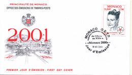 Monaco FDC 1-12-2000 Princesse Stéphanie With Cachet - FDC