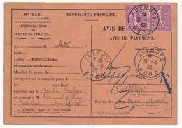FRANCE - Avis De Réception (de Paiement) Affranchi 75c Semeuse Lignée X2 - AULNOYE (Nord) 1932 => Maroc Espagnol - 1903-60 Semeuse A Righe
