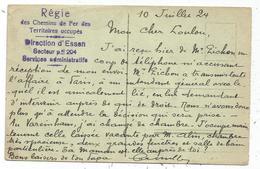 REGIE DES CHEMINS DE FER TERRITOIRES OCCUPES DIRECTION D'ESSEN SECTEUR P 204 CARTE GERMANY ESSEN - Marcophilie (Lettres)