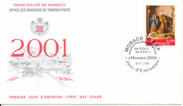 Monaco FDC 1-12-2000 Christmas Stamp With Cachet - FDC