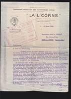 """Automobiles Corre, Neuilly Sur Seine, Marque """"La Licorne"""" Devis De Voiture 1925 - Frankrijk"""