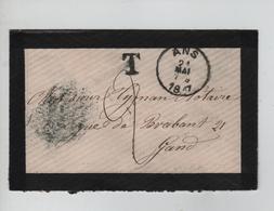 REF246/ Lettre De Deuil Format CV Non Affranchie C.Ans 21/5/1887 Griffe T > Gand C.d'arrivée + Taxée 2 (manuel) - Portomarken