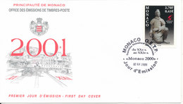 Monaco FDC 2-12-2000 Terracotta China Sculpture With Cachet - FDC