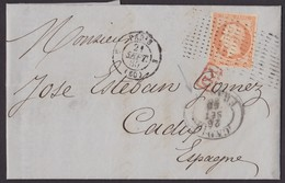 1860. PARÍS A CÁDIZ. 40 CÉNTIMOS NARANJA MAT. MARRILLA PUNTOS SANS FINS Y P.D. ROJO. FECHADOR Y MARCA CADIZ/FRANCO. - Marcophilie (Lettres)