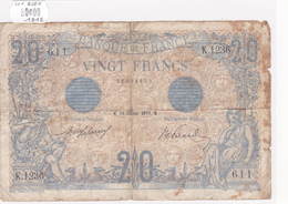 Billet De 20 Francs Bleu Du 19 Février 1912 - K.1236 Alph 611 @ N° Fayette : 10.2 - 1871-1952 Circulated During XXth