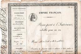 1854 - SISTERON - PASSEPORT DE L'INTERIEUR Pour Jean-Baptiste DAUMAS - - Documents Historiques