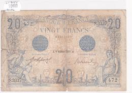 Billet De 20 Francs Bleu Du 6 Décembre 1912 - S.3337 Alph 472 @ N° Fayette : 10.2 - 1871-1952 Circulated During XXth