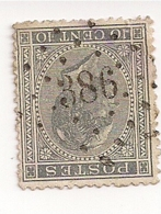 17-LP386-WAESMUNSTER-CENTRALE AFSTEMPELING - 1865-1866 Profil Gauche
