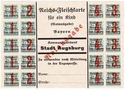 1916 Reichsfleischkarte Für Ein Kind, Notausgabe, Stadt Augsburg, Links Unten Bug - Bayern