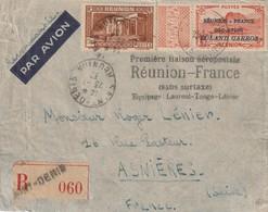Pa N°1 Sur Lettre Premiére Liaison Reunion France Signe Calves , Manque Une Dent En Angle - Airmail