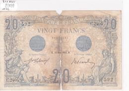 Billet De 20 Francs Bleu Du 12 Aout 1912 - C.2404 Alph 592 @ N° Fayette : 10.2 - 1871-1952 Anciens Francs Circulés Au XXème
