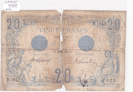 Billet De 20 Francs Bleu Du 20 Mai 1912 - R.1842 Alph 923 @ N° Fayette : 10.2 - 1871-1952 Circulated During XXth