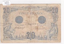 Billet De 20 Francs Bleu Du 31 Décembre 1912 - T.3658 Alph 318 @ N° Fayette : 10.2 - 1871-1952 Circulated During XXth