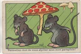 Illustrateur Benjamin RABIER : Permettez Moi De Vous Abriter Sous Mon Parapluie - Rabier, B.