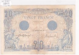 Billet De 20 Francs Bleu Du 8 Novembre 1912 - Z.2983 Alph 706 @ N° Fayette : 10.2 - 1871-1952 Antichi Franchi Circolanti Nel XX Secolo