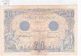 Billet De 20 Francs Bleu Du 8 Novembre 1912 - Z.2983 Alph 706 @ N° Fayette : 10.2 - 1871-1952 Gedurende De XXste In Omloop