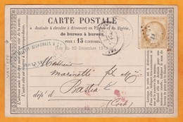 1873 - Carte Précurseur De Roanne, Loire Vers Bastia, Corse - 15 C Cérès - Cad Arrivée - 1849-1876: Période Classique