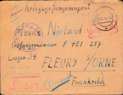 Prisoner Of War To German POW In France, Depot 34 In Fleury S/Orne Posted Dortmund 13.1.1946 - Letter Inside (G109-13) - Militares