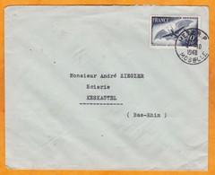 1948 - YT PA 23 Cinquantenaire Clément Ader Seul Sur Enveloppe De Metz RP, Moselle Vers Keskastel, Bas Rhin - Poststempel (Briefe)