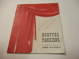 Mini Programme / Bouffes Parisiens/ Les J3 Ou La Nouvelle Ecole/François PERRIER/TRAMEL/Marcel VALLEE/ 1945   PROG257 - Programs