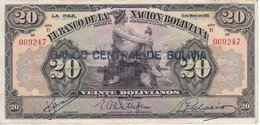 BILLETE DE BOLIVIA DE 20 BOLIVIANOS DEL AÑO 1911 SERIE B (BANKNOTE) - Bolivia