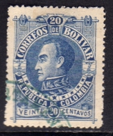 COLOMBIA BOLIVAR 1891 CENT. 20c USATO USED OBLITERE' - Colombia