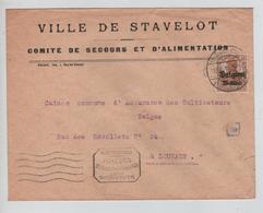 REF255/ TP Oc 15 S/L.Ville De Stavelot Comité De Secours Càp Stavelot 17/8/18 Censure Lüttich > Louvain - [OC1/25] Gouv. Gén.