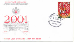 Monaco FDC 3-12-2000 Monaco AS Winner Of The French Football Championship With Cachet - FDC