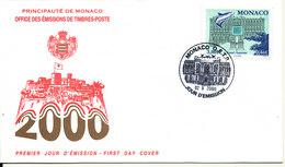 Monaco FDC 2-10-2000 Ocean Aquarium With Cachet - FDC