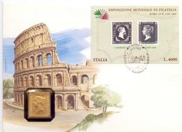 ROMA ESPOSIZIONE MONDIALE DI FILATELIA 1985 ONE PENNI ARGENTO 999  (FEB200372) - Esposizioni Filateliche
