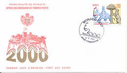 Monaco FDC 2-10-2000 International Stamp Exhibition Espana 2000 Madrid With Cachet - FDC