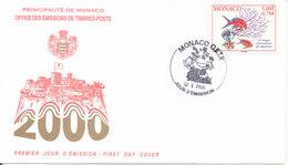 Monaco FDC 2-10-2000 Aquarium Congress With Cachet - FDC