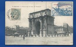 Vignette  Exposition Coloniale Marseille 1906  Sur Carte Postale      Animées    écrite En 1906 - Erinnophilie