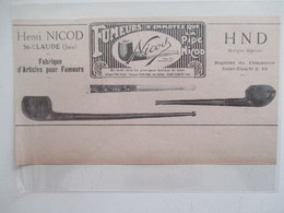 Année(1925) SAINT CLAUDE (Jura) PIPE  Henri NICOD - Ancienne Coupure De Presse - Bruyerepfeifen